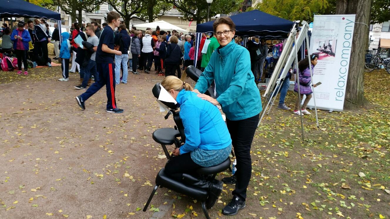 mobile Massage beim Sponsorlauf für Montebellos Kinder e.V. in Wiesbaden